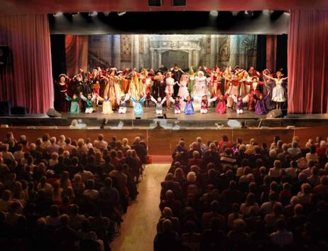 Pantomime and audience for Sleeping Beauty 2005/6 at Broxbourne Civic Hall